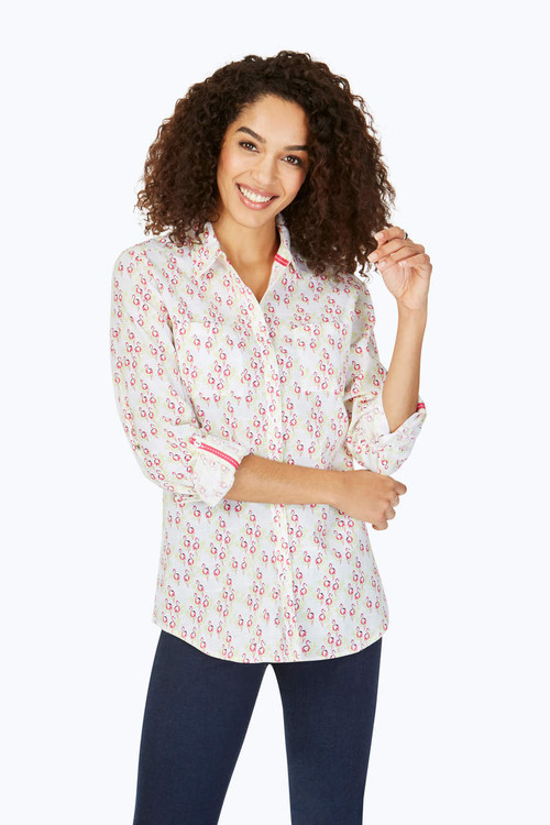 Zoey Petite Wrinkle-Free Dancing Flamingos Shirt