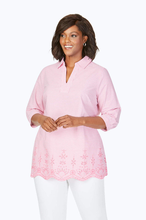 Costa Plus Stripe Embroidery Tunic