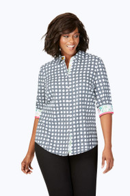 Ava Plus Wrinkle-Free Wicker Print Shirt