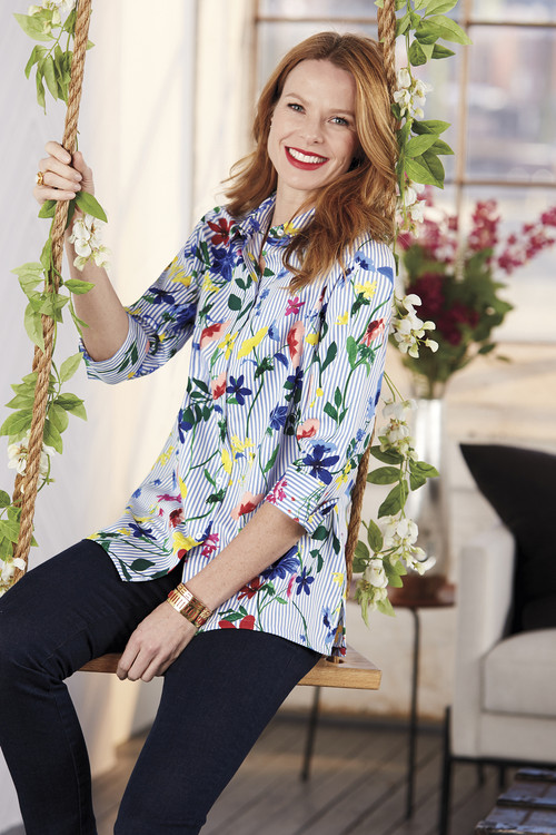 Libby Wrinkle-Free Floral Stripe Tunic