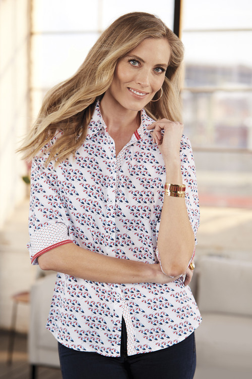 Ava Wrinkle-Free Seaport Umbrella Shirt
