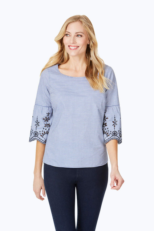 Rory Stripe Embroidery Blouse