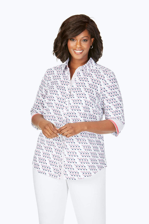 Ava Plus Wrinkle-Free Seaport Umbrella Shirt