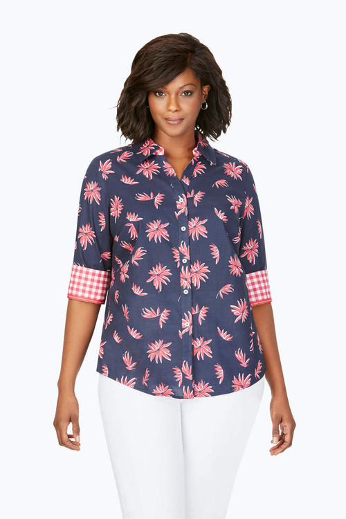 Mary Plus Wrinkle-Free Nautical Floral Shirt