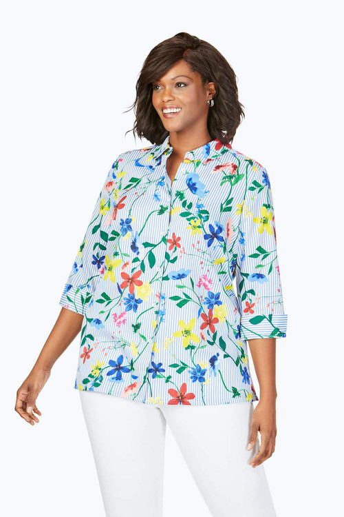 Libby Plus Wrinkle-Free Floral Stripe Tunic