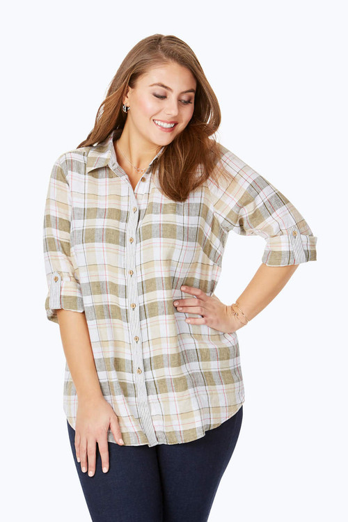 Ibiza Plus Plaid-Stripe Combo Linen Tunic