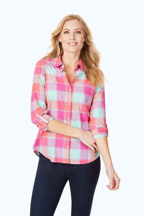 Reese Wrinkle-Free Buffalo Plaid UPF Shirt