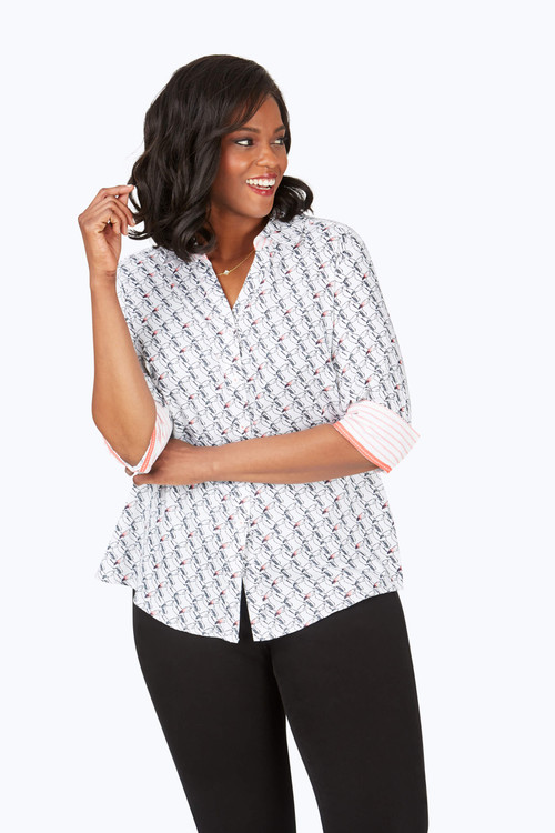 Mary Plus Wrinkle-Free Toucan Print Shirt