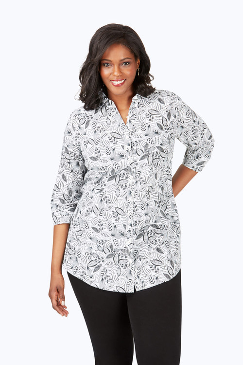 Faith Plus Wrinkle-Free Layered Leaves Tunic