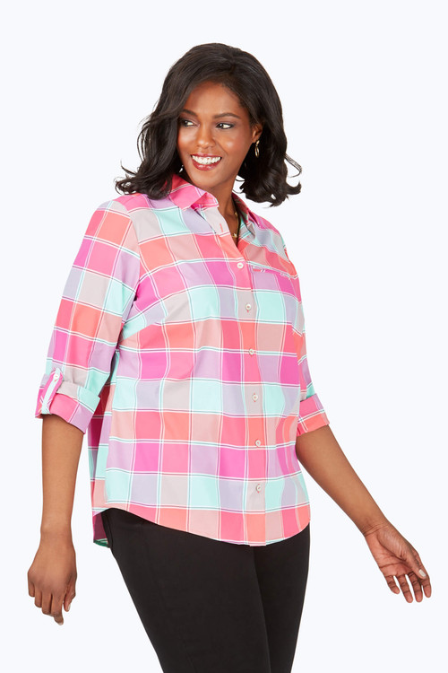 Reese Plus Wrinkle-Free Buffalo Plaid UPF Shirt