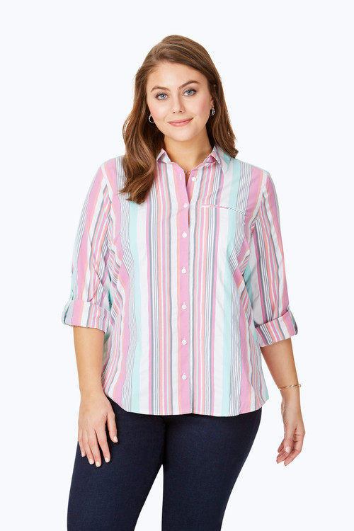 Reese Plus Wrinkle-Free Seersucker Stripe UPF Shirt