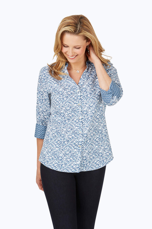 Mary Non-Iron Winding Vines Shirt