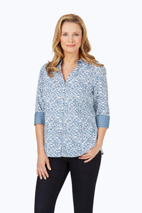 Mary Petite Wrinkle-Free Winding Vines Shirt