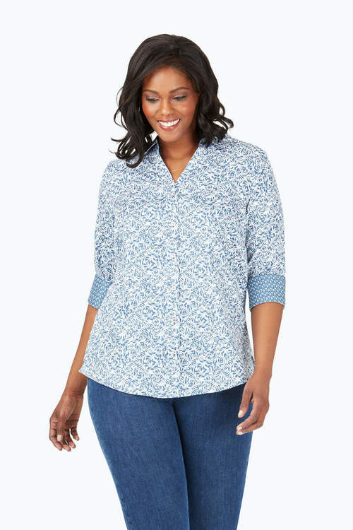 Mary Plus Wrinkle-Free Winding Vines Shirt