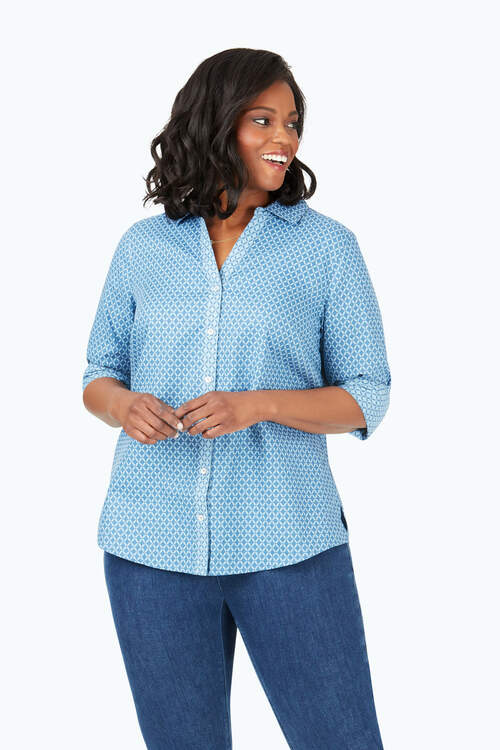 Mary Plus Geo Jacquard Shirt