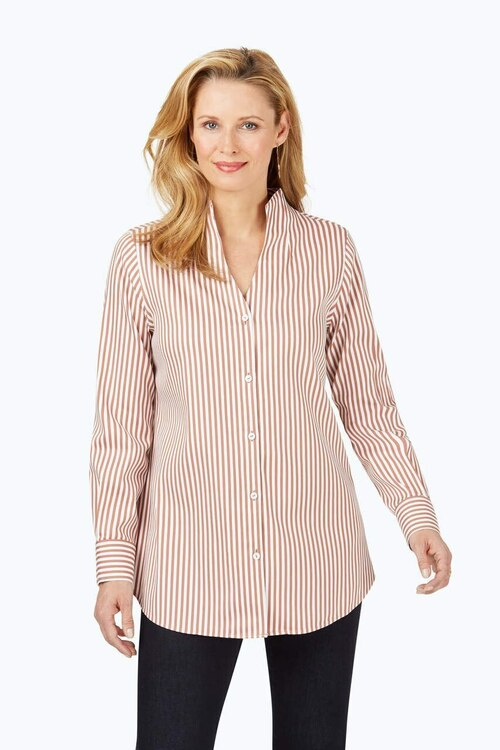 Cena Stretch Non-Iron Sateen Stripe Tunic