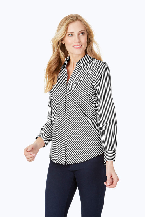 Mona Stretch Non-Iron Sateen Stripe Shirt