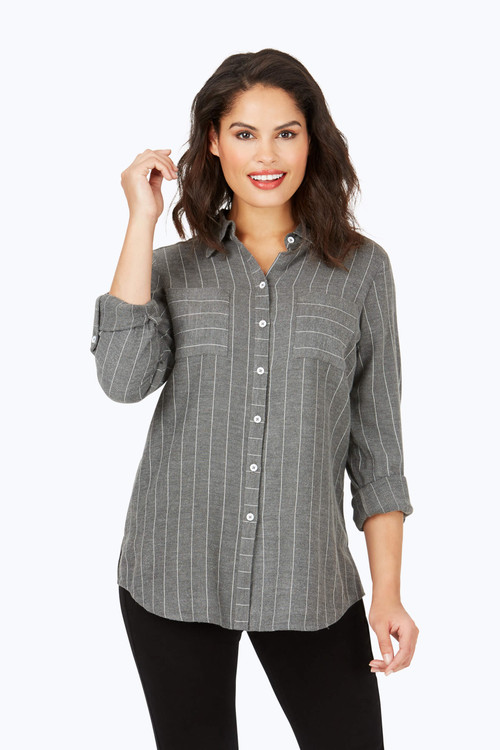 Zoey Brushed Herringbone Stripe Shirt