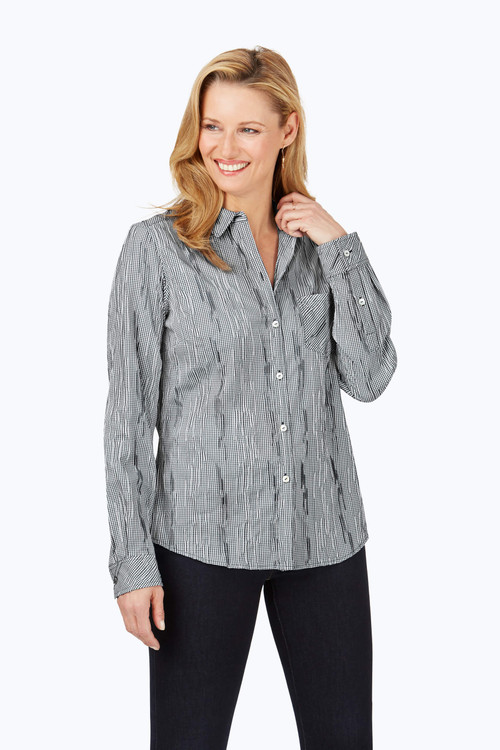 The Hampton Petite Crinkle Mini Check Shirt