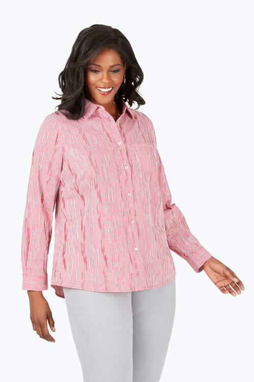 The Hampton Plus Crinkle Mini Check Shirt