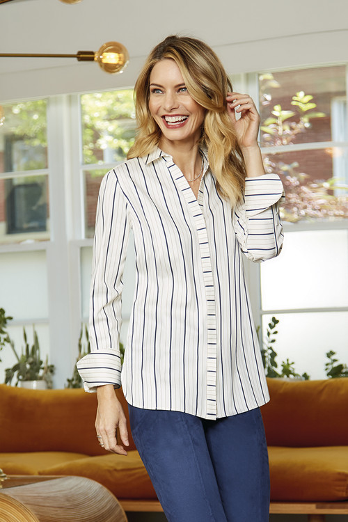 Kyla Stretch Non-Iron Sateen Stripe Shirt