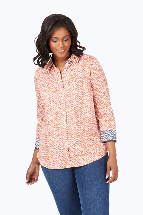 Ava Plus Wrinkle-Free Autumn Floral Shirt