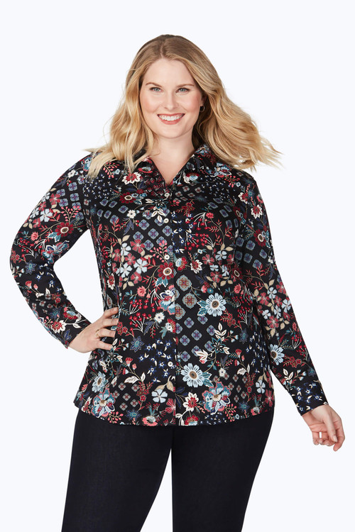 Lucca Plus Wrinkle-Free Floral Medallion Tunic