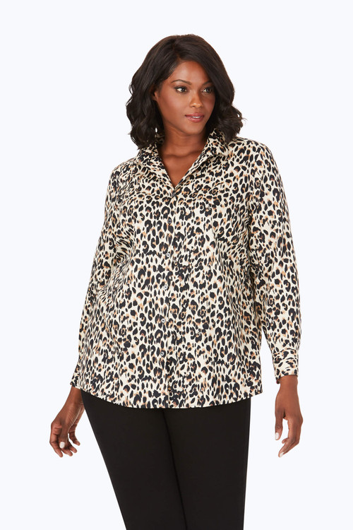 Lucca Plus Wrinkle-Free Leopard Tunic