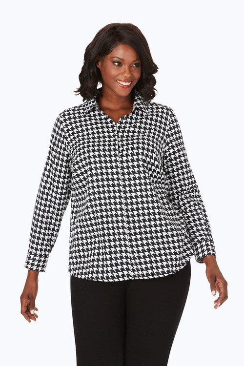 Ava Plus Wrinkle-Free Houndstooth Shirt