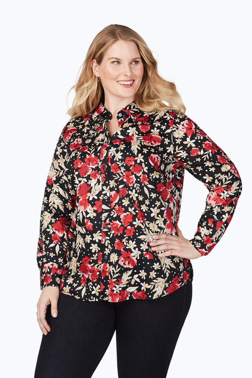 Ava Plus Wrinkle-Free Festive Floral Shirt