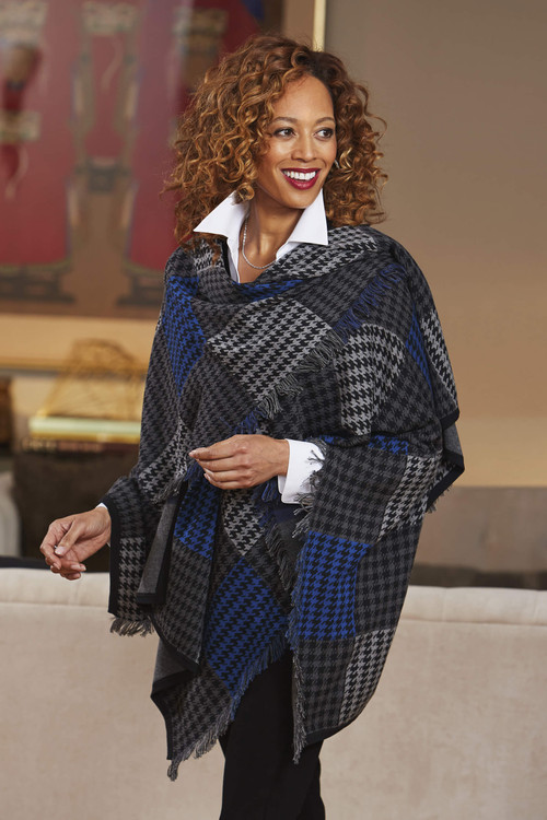 The Walker Houndstooth Plaid Ruana