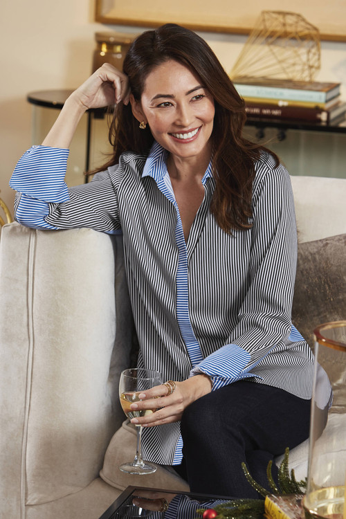 Kyla After Party Stretch Non-Iron Stripe Shirt
