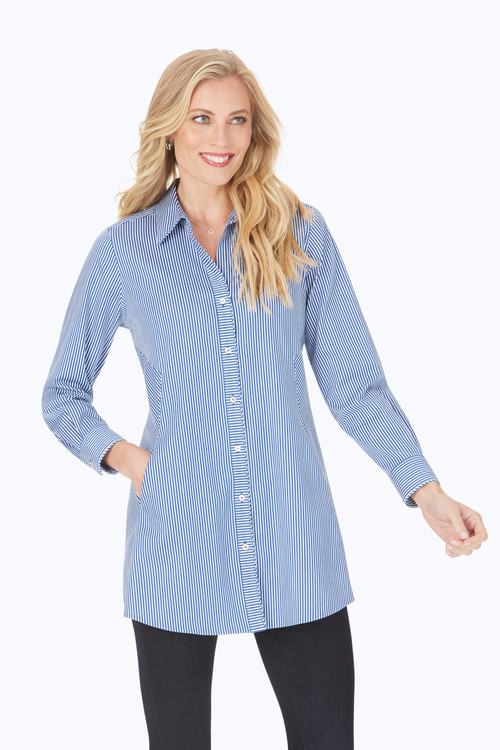 Cici After Party Stretch Non-Iron Blue Stripe Tunic