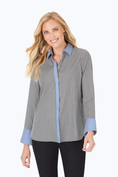 Kyla Petite After Party Stretch Non-Iron Stripe Shirt