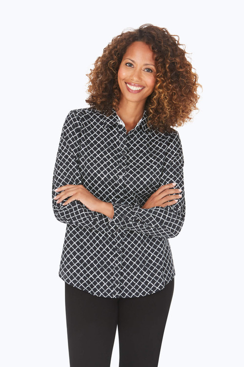 Ava Petite Wrinkle-Free Diamond Dots Shirt