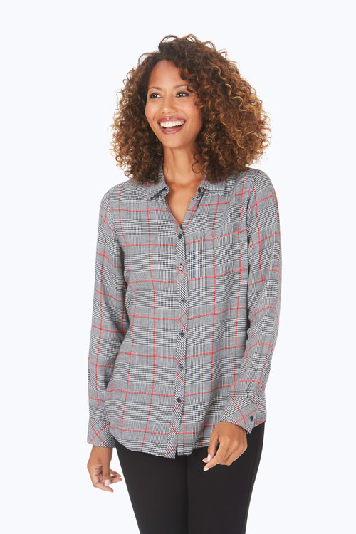 Zoey Brushed Glen Plaid Shirt