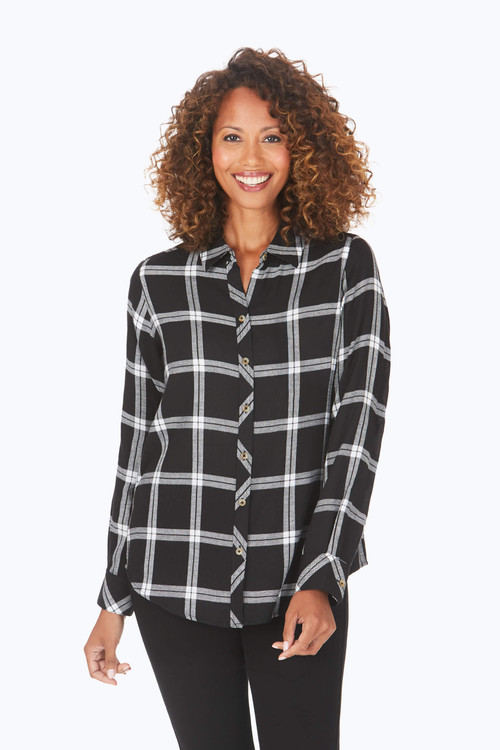 Zoey Petite Brushed Windowpane Shirt