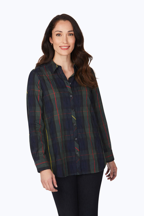 Germaine Petite Hunter Green Crinkle Buffalo Plaid Shirt