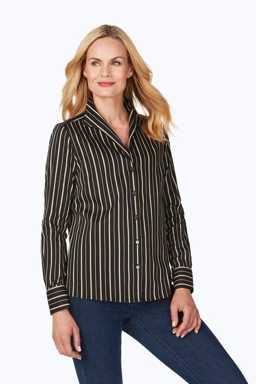 Gracey Petite Stretch Non-Iron Festive Stripe Shirt