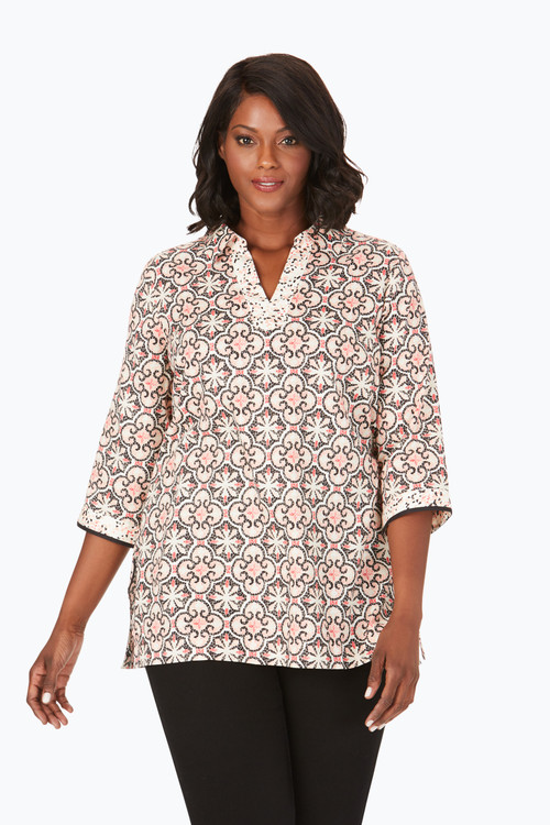 Angel Plus Wrinkle-Free Mosaic Tile Tunic