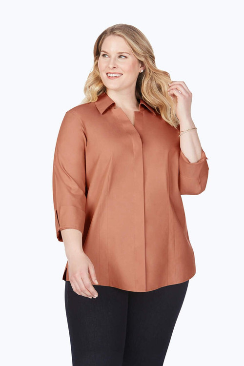 Taylor Plus Non-Iron Pinpoint 3/4 Sleeve Shirt In Fall Colors