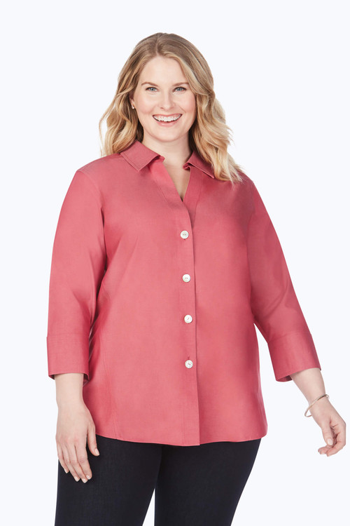 Paityn Plus Non-Iron Pinpoint 3/4 Sleeve Shirt In Fall Colors