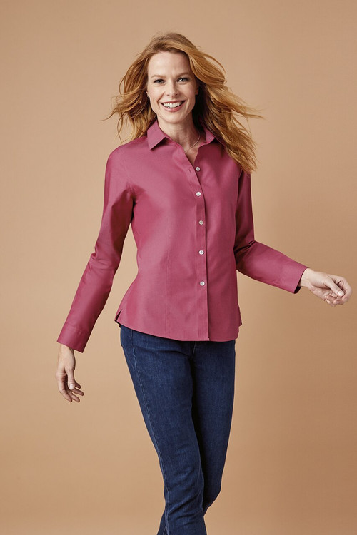 Dianna Non-Iron Pinpoint Shirt In Fall Colors
