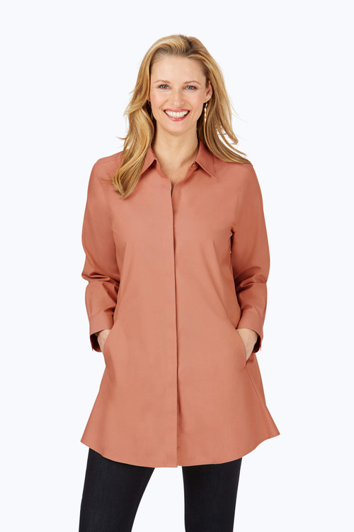 Cici Non-Iron Pinpoint Tunic In Fall Colors