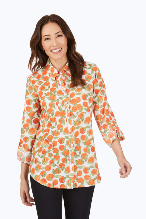 Zoey Petite Wrinkle-Free Tossed Oranges Shirt
