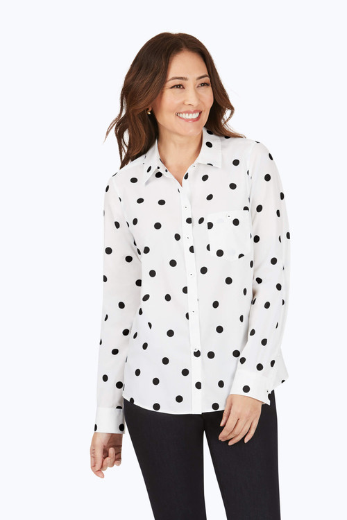 Hampton Petite Non-Iron Flirty Dot Shirt