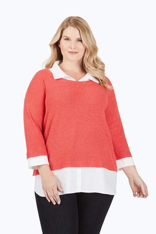 Miles Plus Textured 2-Fer Sweater