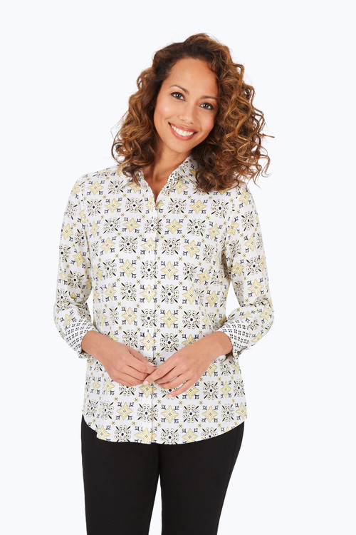 Ava Wrinkle-Free Decorative Tiles Shirt