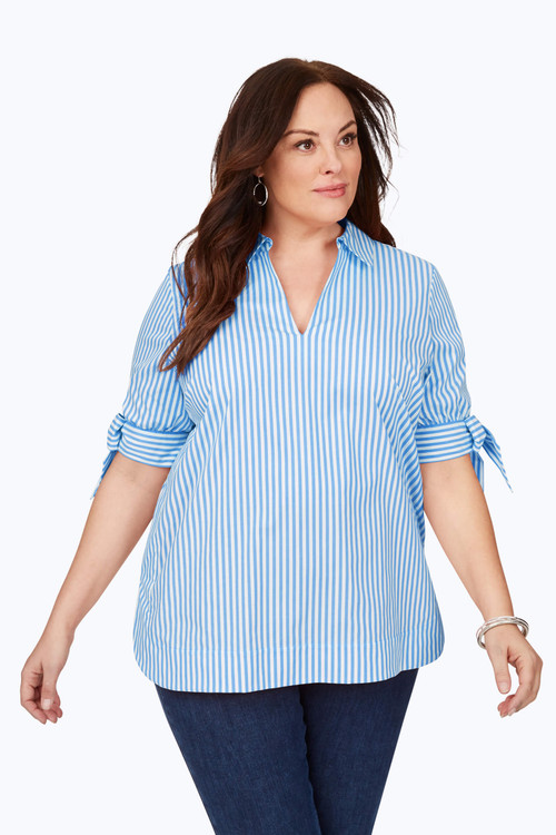 Vivien Plus Non-Iron Twill Stripe Tunic