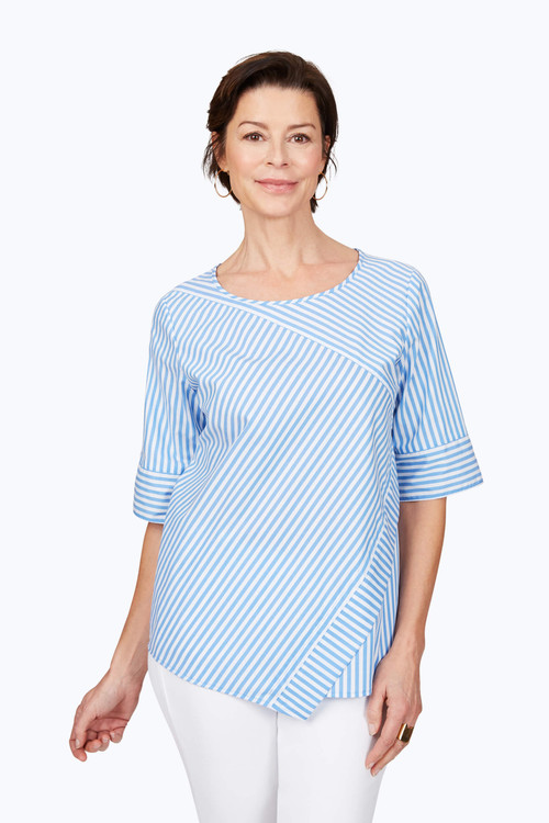 Koralie Wrinkle-Free Twill Stripe Popover Top